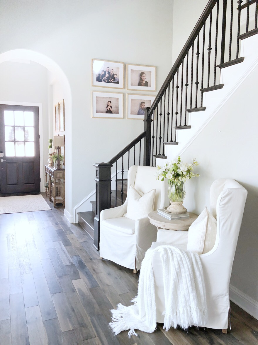 stairway banister entryway decor home tour