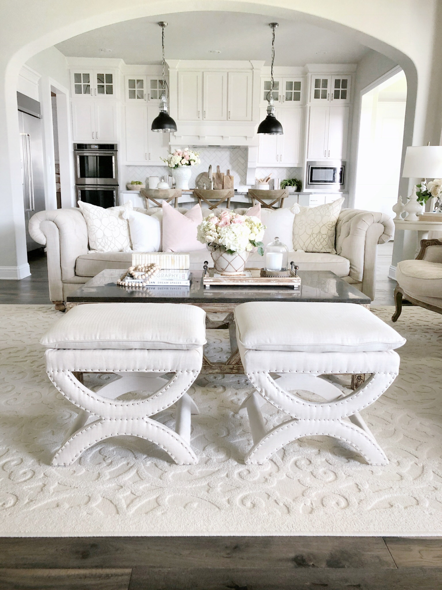 living room decor farmhouse tufted couch home tour